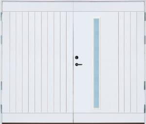 Garageport vit med glas