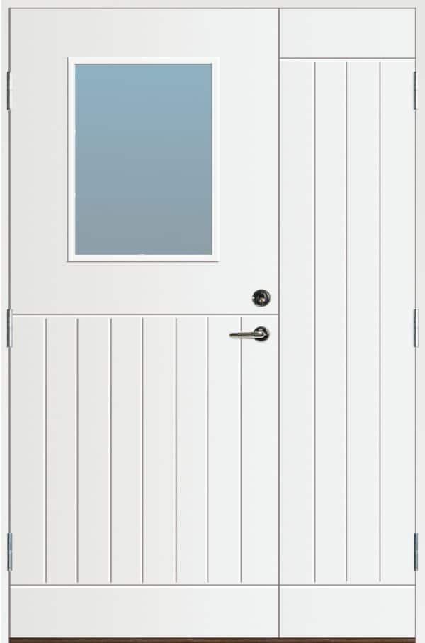 Pardörr med glas, vit